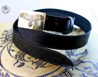 """Leather belt brass buckle """"Ringed crows"""""""