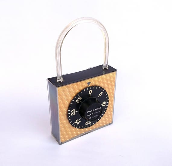 Vintage 1960's Combination Padlock Shaped Coin Bank