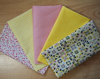 Set of 5 Coupons tones yellow & rose, beautiful quality cotton Poplin fabric.