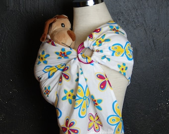 Doll ring Sling,Doll sling, Toy ring sling,Baby doll Wrap,Baby doll Carrier, Children Sling, Toddler toy wrap, Flowers toy sling