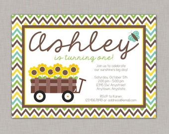 Sunflower Invitation, Sunflower Birthday Invitation, Sunflower Party