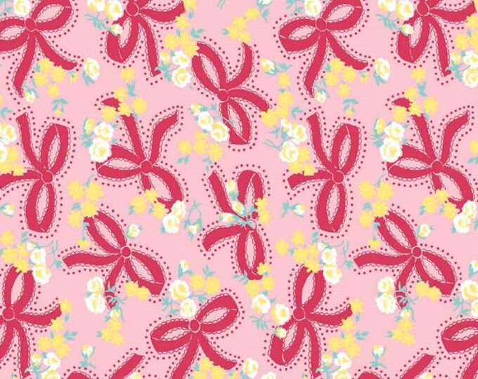 Dainty Darling Fabric by Lindsay Wilkes from The Cottage Mama for Riley Blake Designs and Penny Rose Fabrics - Pink Bow