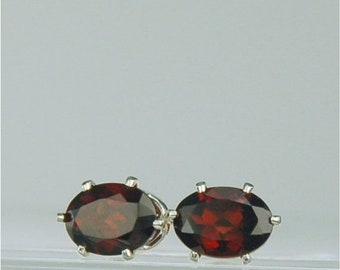 MothersDaySale Garnet Stud Earrings Sterling Silver 7x5mm Oval 2ctw Natural Untreated