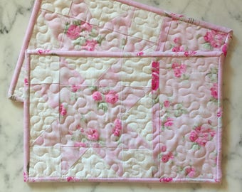 Shabby Chic Mug Rug Set, Mini Quilts, Place Mats, Candle Mats, Pink, White, Floral, Sawtooth Star, Set of 2, Handmade