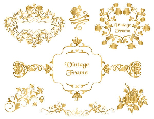 GOLD Digital Frame Clip Art Gold Floral Clipart Flourish