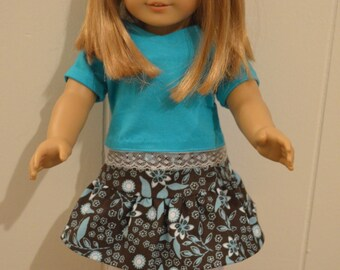 """18"""" Doll Cloting:  Turquoise/ Brown 3-piece Skirt/Top/White Leggings"""