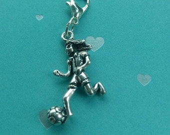 Girl with Soccer Ball Zipper Pull, Purse or Backpack Charm
