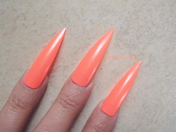 fake nails coral pink neon medium long stiletto nails costume