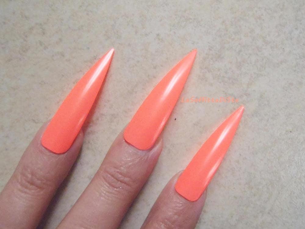fake nails coral pink neon medium long stiletto nails costume wag ...