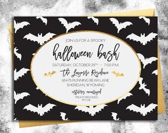 Halloween Party Invitation || Black, White, & Gold Bats