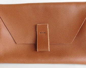 Brown Leather Envelope Clutch, Italian Leather Purse, Medium Size Leather Clutch
