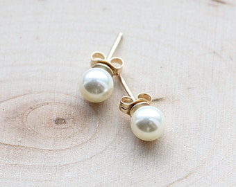 Tiny Gold Pearl Post Earrings - Simple Everyday Earrings, 14k Gold Fill - Ivory Swarovski Pearl - Bridal Earrings - Bridesmaid Earrings