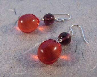 Red and Purple Bubble Earrings