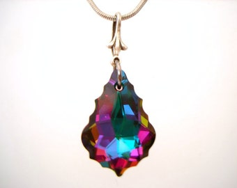 Swarovski Baroque Electra small colorful pendant necklace with small fleur bail on silver color snake chain