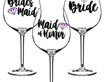 Mix + Match Custom Wedding Party Favor Vinyl Decal  - Bachelorette Party - Apply to Tumblr's - Wine Glasses - Cups - Ect.