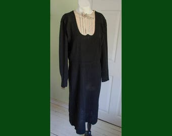 Vintage 1930's Woman's Black Wool with Pleated Bib and bow