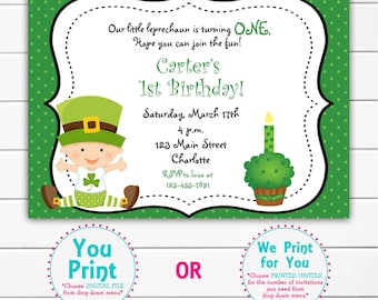 St. Patricks Day first birthday party invitation -  baby leprechaun  first birthday -  You print or I print