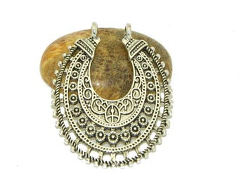 large oval connector antique ethnic silver 53x36mm
