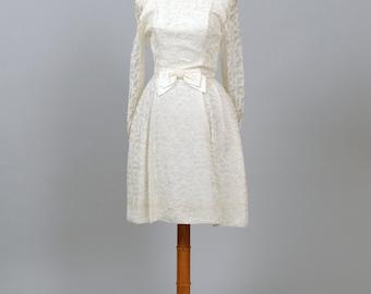 1950 Satin Bow Vintage Wedding Dress