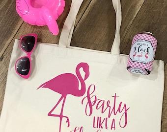 Party like a Flock Star Flamingo Tote Bag - Summer Vacay Tote - Reusable Bag - Bridesmaid Gift - Summer Beach Bag - Carry On Tote - Mingos