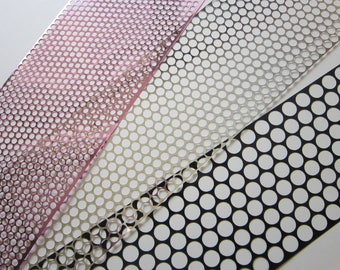 3 yards POLKA DOT stencil material - scrim - 4mm 6mm, 10mm holes - sequin waste - 1 yard each in THREE sizes - punchanella, punchinella