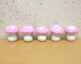 Miniature Fairy Toadstools, Fairy Decor, Fairy Door Accessories, Clay Mushrooms, Dollhouse Miniature, Set of 5, Pink
