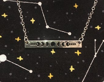 Phases of the Moon Bar Necklace