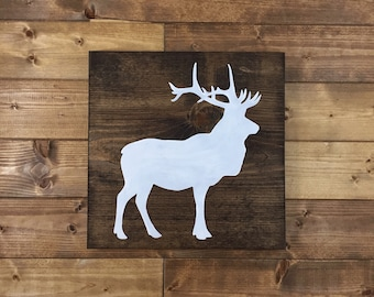 Choose Colors, Elk Wood Sign, Elk Sign, Painted, Elk decor, Cabin decor, Hunting decor, woodland nursery, wildlife nursery, cabin signs