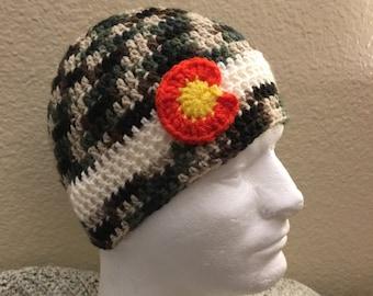 Crochet Camouflage, Colorado Beanie- Baby, Child, Teen, Adult sizes, Colorado hat, Colorado flag hat, Colorado, Ski hat, Camo