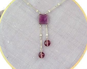 Art Deco Necklace | 1920s Vintage Purple Necklace | Deco Necklace