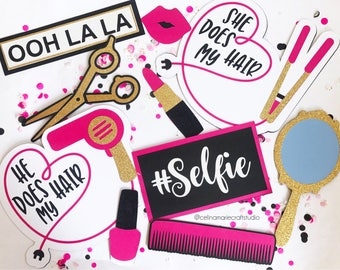 Salon Photo Booth Props | Hairstylist Photo Booth Props | Hairdresser Photo Booth Props | Cosmetology Photo Booth Props | Makeup Party | MUA