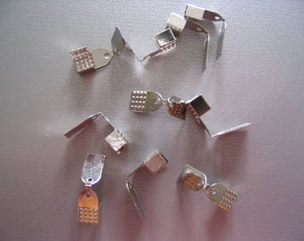 Set of 10 clasps for silver ribbon