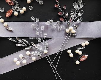 Marsala wedding,Purple rhinestone hair comb,Light grey crystals pin,Bridal silver grey comb,Grey pearl pin,Gray bridal comb,Bridesmaids pin