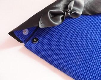 Crochet Clutch Purse. Envelope Crochet Purse. Blue Crochet Foldover Clutch.Leather Cover Clutch.  Evening Bag. Fashion Item