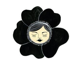 Flower Girl Art Print, Whimsical Girl Art, Flower Wall Art, Flower Face, Girl Face Art, Whimsical Girl Decor, Girls Room Art, Surreal Prints