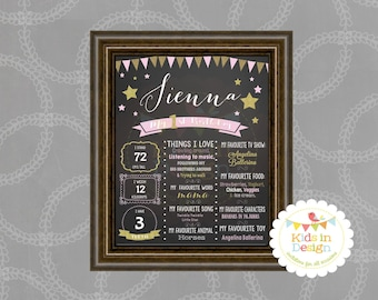 First Birthday Print, Birthday Present for baby girl, Pink & Gold, jpg, pdf, printable, wall art, milestone, gift