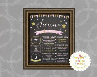 First Birthday Print, Birthday Present for baby girl, Pink & Gold, jpg, pdf, printable, wall art, milestone, gift