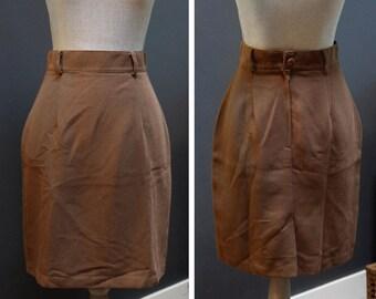Vintage Brown Pencil Skirt, Brown Work Skirt, Vintage Brown Skirt, Classic Pencil Skirt, Made in Canada, Simple Brown Pencil Skirt
