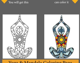 Summer SALE Yoga Party Coloring Activity 25 Pages Mandala