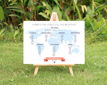 Travel themed wedding seating plan - where in the world?