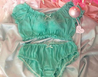 Seafoam Off The Shoulder Peasant Top with pom pom bow and matching panty