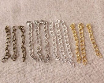 """Wholesale Lot 2"""" Silver Bronze Gold Curb Extension Chain Tail Extender Curved Adjustable Necklace Bracelet Finding DIY"""