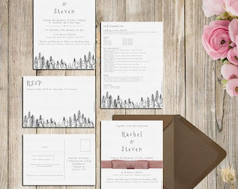 Forest Trees Wedding Invitations, RSVPs or Information Cards