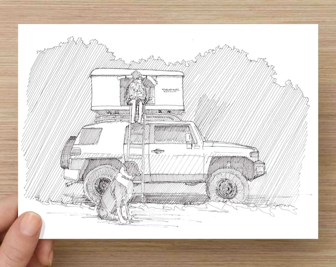 Pen and Ink Drawing of FJ Cruiser Overlander with Rooftop Tent - Camping, Offroad, Toyota, Sketch, Watercolor, Art, Pen and Ink, 5x7, 8x10