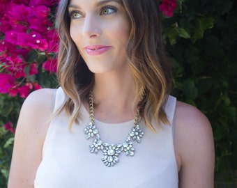 Statement Necklace, Bridal Jewelry, Bridesmaid Jewelry, Bridesmaid Gift, Chunky Statement, Bib Necklace, Jcrew Necklace, Crystal Statement