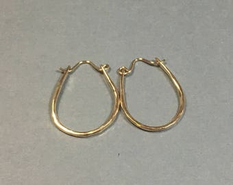 Gold Hoop Earrings 14kt Gold Filled, Handmade Hammered Hoops 1 and 1/8 Inches Long .75 Inches Wide, Petite Gold Hoop Earrings