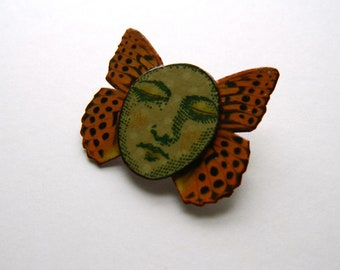 Butterfly Pin, Butterfly Brooch, Face Pin, Whimsical Brooch, Face Brooch, Bug Brooch, Quirky Brooch, Gifts For Mom, Moon Face Brooch