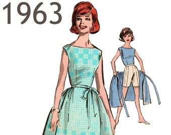 "Vintage Wrap Skirt Pattern Retro Shorts Pattern 1960s Top ADVANCE 2920 waist 26 bust 34"" 1960s Skirt and Top Bateau Neckline Summer ensemble"