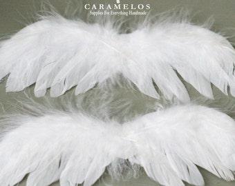 12 kleine weiße Feder Engel Flügel