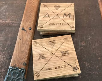 Customized Laser Engraved Wood Coasters Heart and Arrows Monogram--Set of 4